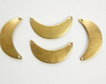 2 Hole Raw Brass Small Crescent Pendant Connector  (8) mtl388A