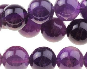 """Dakota Stones Amethyst 10mm Round Gemstones. 8"""" Strand. AME10RD-8"""