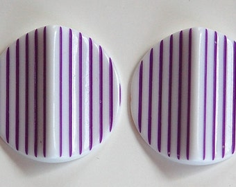 Vintage Acrylic Purple and White Striped Pinched Retro Cabochons cab798D