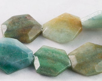 "Dakota Stones Blue Green Quartz Faceted 22x30mm Hexagon Beads Gemstones. 8"" Strand. BGQHEX-8"