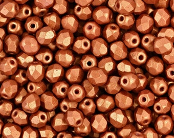 Czech Faceted Matte Metallic Copper Firepolish Glass Beads 6mm (25)
