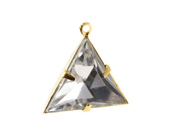 Crystal Clear Faceted Acrylic Triangle in 1 Loop Gold Setting Pendant Drop 20mm (4) tri008L