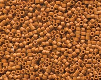 Frosted Opaque Glazed Burnt Ornage Miyuki Delica Seed Bead 11/0 7.2G Tube DB2287-TB