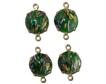 Vintage Green Millefiori Glass Stones 2 Loop Brass Settings 12mm rnd004NN2