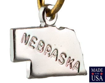 Shiny Silver Tiny Nebraska State Charm Drops 13x9mm (6) chr224TT