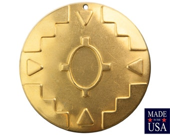 1 Hole Raw Brass Southwestern Drop / Pendant with 14x10mm Setting (2) mtl484A