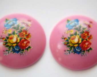 Vintage Pink Floral Domed Cabochons 28mm (2) cab760P