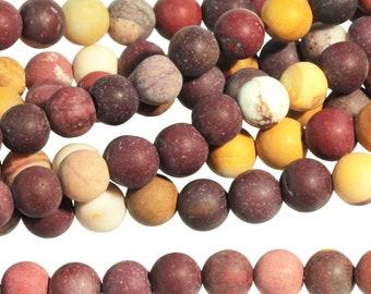 """Dakota Stones Matte Mookaite 6mm Round Gemstones. 8"""" Strand. MKT6RD-M-8"""