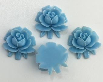 Vintage Style Blue Rosebud Rose Cabochons 18mm (4) cab266