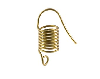 Raw Brass Short Coil Ear Wires Findings (6) fnd013D
