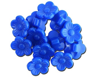 Vintage Royal Blue Plastic Flower Buttons 16mm btn005A