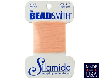 Light Pink Silamide Waxed Nylon Beadstring Size A (40 Yards) CSL1910