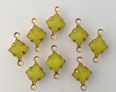 Yellow Moonglow Square Glass Stones 2 Loop Brass Setting 6mm (8) squ001LL2