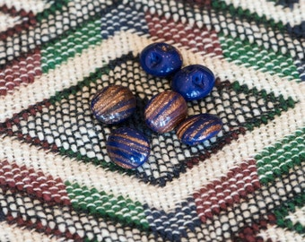 Vintage Blue with Goldstone Oval Glass Buttons btn014C