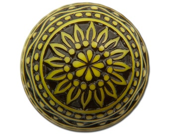 Vintage Etched Mosaic Yellow and Black Cabochons 18mm (2) cab710B