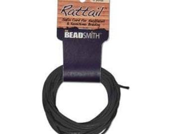 Rattail Satin Cord Black, 6 Yards each, 2mm Diameter