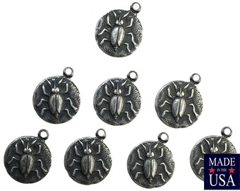 Matte Silver Ox Plated Beetle Charm Drops with Loop (8) chr051Q