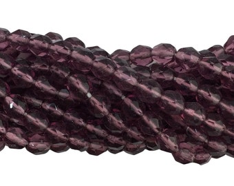Transparent Faceted Amethyst Glass Beads 6mm (40) bds1500G