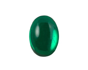 Transparent Emerald Foiled Glass Oval Cabochons 18x13mm (2) cab4005B