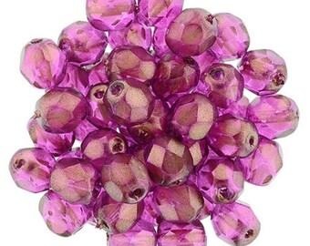 Czech Faceted Halo Madder Rose Firepolish Glass Beads 3mm (50)