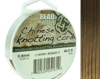 Light Brown Chinese Knotting Cord (.8mm/.031in) 15m/16.4yds