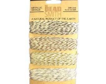 Beadsmith Hemp Cord 4 Metallic Vintage 20lb/1.0mm