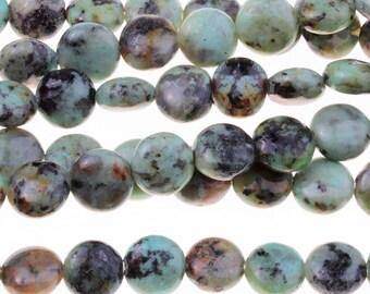 "Dakota Stones African Turquoise 8mm Puff Coin Gemstones. 8"" Strand. ATQ8DC-8"