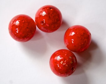 Vintage Lucite Red Orange Beads with MOP Glitter Inclusions 18mm (4) bds832A
