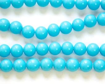 Vintage Turquoise Blue Glass Beads Japan 8mm (8) jpn003C
