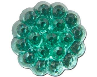Bumpy Top Scalloped Edge Emerald Green Glass Cabochons 12mm (4) cab526A