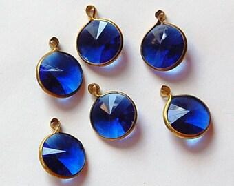 Vintage Sapphire Blue Acrylic Rivoli Channel Set 12mm 1 Loop Drops chr155L 5de5e3f0d145