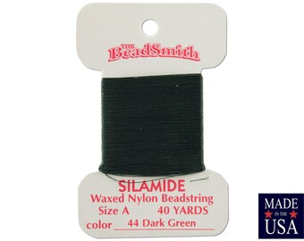 Dark Green Silamide Waxed Nylon Beadstring Size A (40 Yards) CSL0044