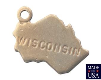 Raw Brass Tiny Wisconsin State Charm Drops (6) chr201LL
