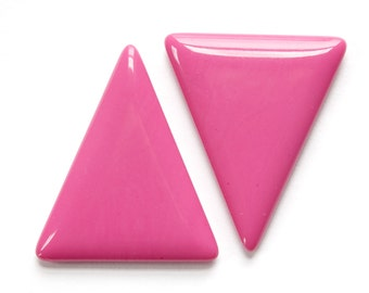 Vintage Pink Triangle Acrylic No Hole Findings (2) cab828A