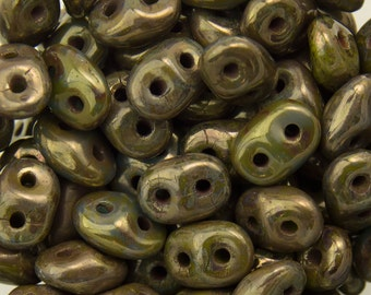 """Opaque Olive - Bronze Picasso SuperDuo Beads 2/5mm 2.5"""" Tube 364-25-BT5342/C"""