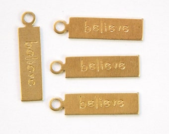 BELIEVE Rectangle Raw Brass Word Charm Drop with Loop (8) chr193M