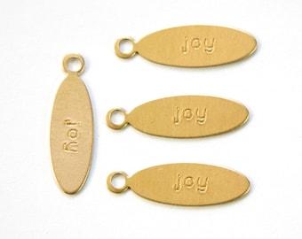 JOY Oval Raw Brass Word Charm Drop with Loop (8) chr191F