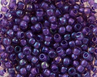 Inside Color Rainbow Rosaline / Opaque Purple Lined Toho Seed Bead 11/0 TR-11-928