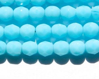 Czech Opaque Light Blue Faceted Glass Beads 6mm (30) czh016E
