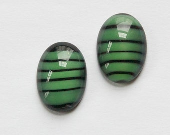 Vintage Green and Black Glass Domed Cabochons VersionA 18x13mm cab051A
