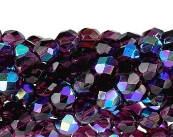 Czech Faceted Amethyst AB Firepolish Glass Beads 6mm (25)