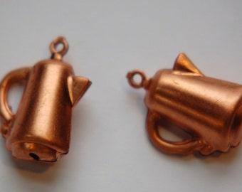 Vintage Coffee Pot Copper Charms (4) chr103J