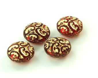 Elegant Czech Brocade Ruby Red with Gold Beads 14mm (4) bds772C