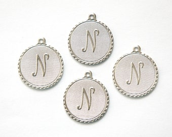 Matte Silver Plated Letter N Initial Charm Drop with Loop (4) chr196N