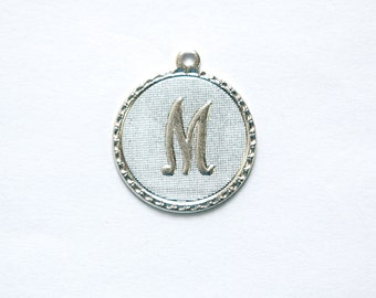 Matte Silver Plated Letter M Initial Charm Drop with Loop (1) chr197M