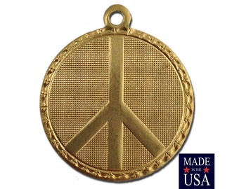Raw Brass Peace Symbol Charm Drop with Loop (1) chr190BB