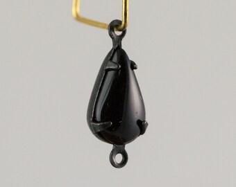 Black Glass Teardrop 2 Loop Matte Black Setting 13x8 (4) par021K2