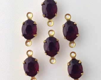 Vintage Garnet Faceted Glass Stones 2 Loop Brass Setting 8x6mm (6) ovl012F2