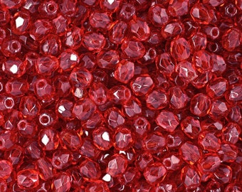 Firepolish Czech Faceted Transparent Siam Ruby Glass Beads 3mm (50) 1-03-9008