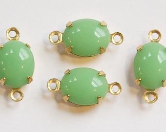 Vintage Light Jade Green Oval Stones in 2 Loop Brass Setting ovl005DD2